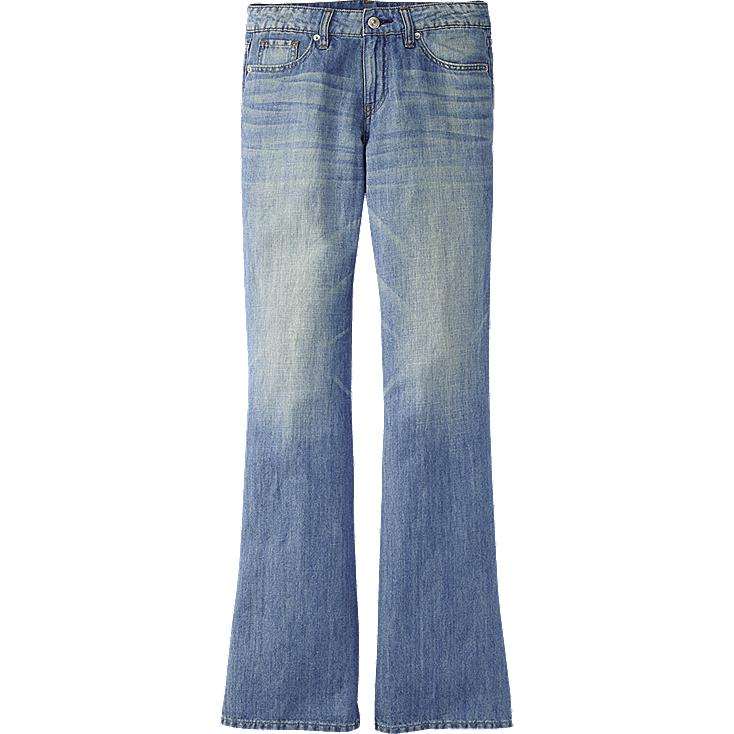 WOMEN LINEN BLENDED WIDE LEG JEANS
