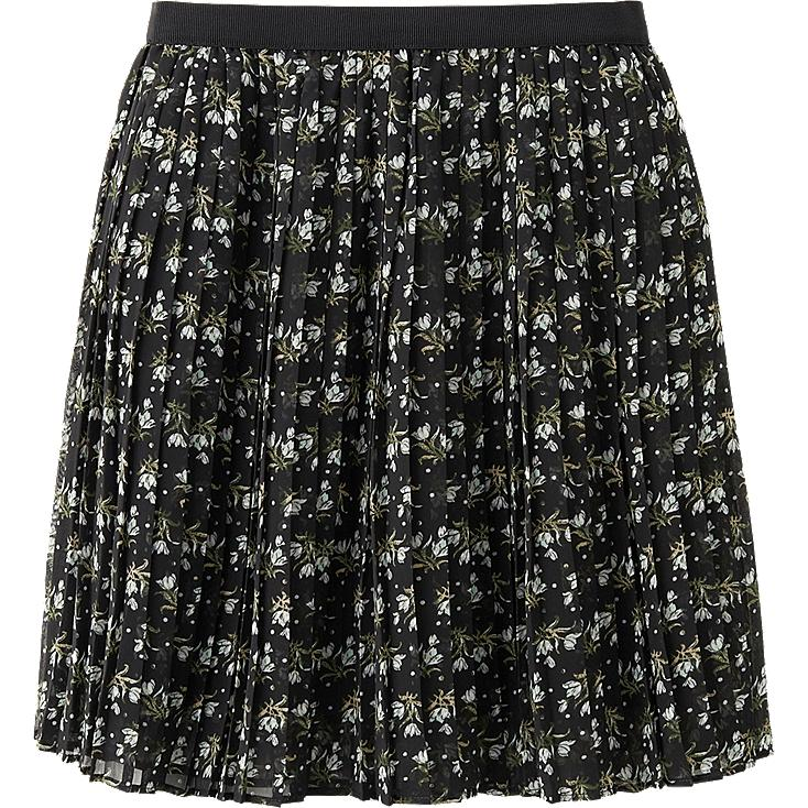 WOMEN CHIFFON PLEATED PRINT MINI SKIRT