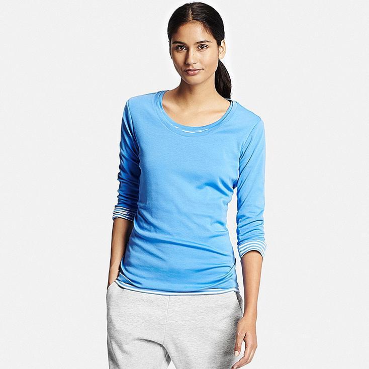 women supima cotton crewneck 3 4 sleeve t shirt uniqlo