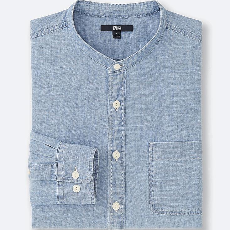 MEN Chambray Stand Collar Long Sleeve Shirt
