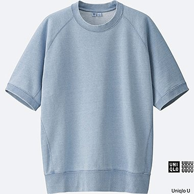 MEN Uniqlo U Short Sleeve Indigo Sweatshirt