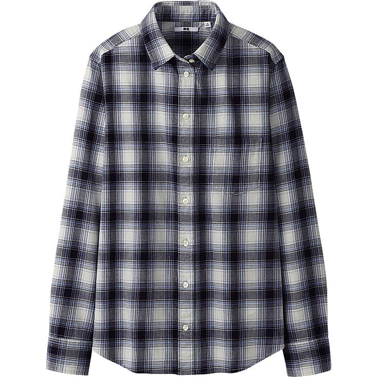 WOMEN COTTON CHECK LONG SLEEVE SHIRT