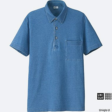 MEN Uniqlo U Oversized Indigo Short Sleeve Polo Shirt