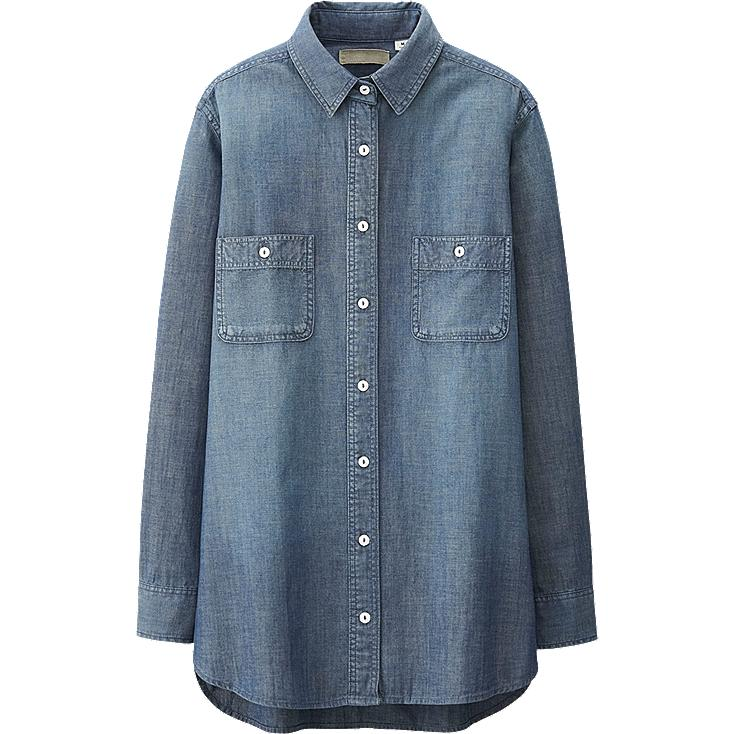 WOMEN PURE BLUE JAPAN CHAMBRAY LONG SLEEVE LONG SHIRT