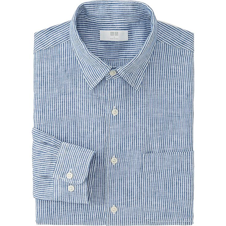 Men premium linen striped long sleeve shirt uniqlo for Uniqlo premium t shirt