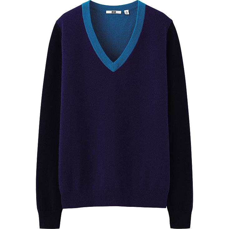 WOMEN CASHMERE V NECK SWEATER COLOR BLOCK