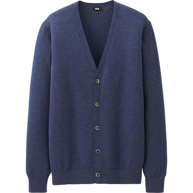 MEN COTTON CASHMERE V NECK CARDIGAN