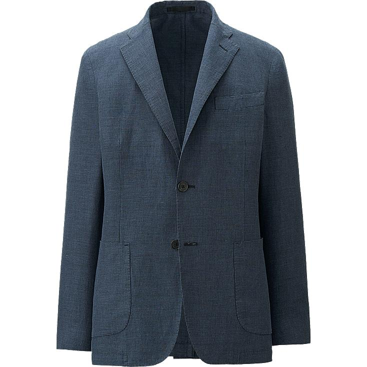 MEN LINEN COTTON SLIM FIT JACKET (PATTERNED)