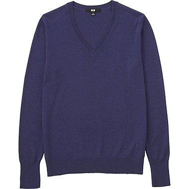 DAMEN Pullover V-Ausschnitt aus Merinowolle