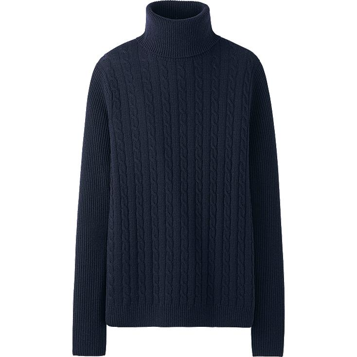 WOMEN CASHMERE BLEND CABLE TURTLE NECK SWEATER