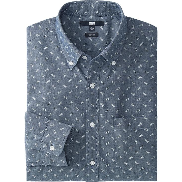 MEN CHAMBRAY PRINTED SLIM FIT LONG SLEEVE SHIRT