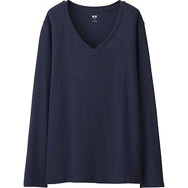 DAMEN Langarmshirt V-Ausschnitt aus Supima Cotton