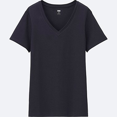 T-Shirt Coton Supima Col V Manches Courtes FEMME