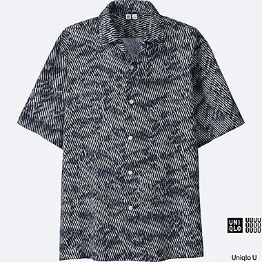 MEN Uniqlo U Open Collar Short Sleeve Shirt