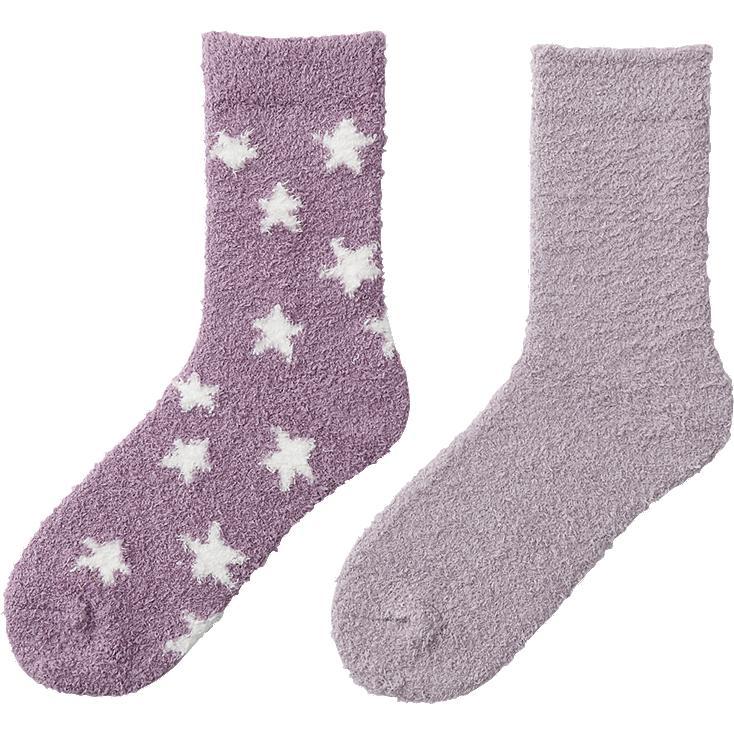 WOMEN FLUFFY SOCKS 2P (STAR)