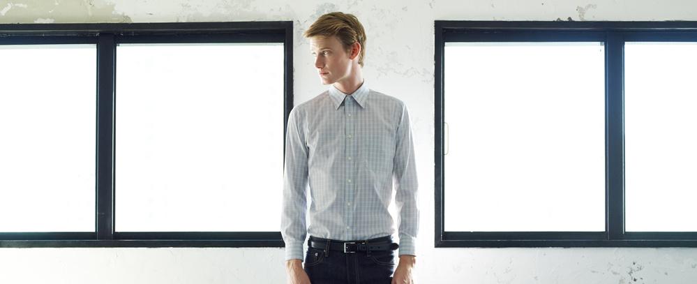 男裝 精紡 格紋襯衫 (長袖)