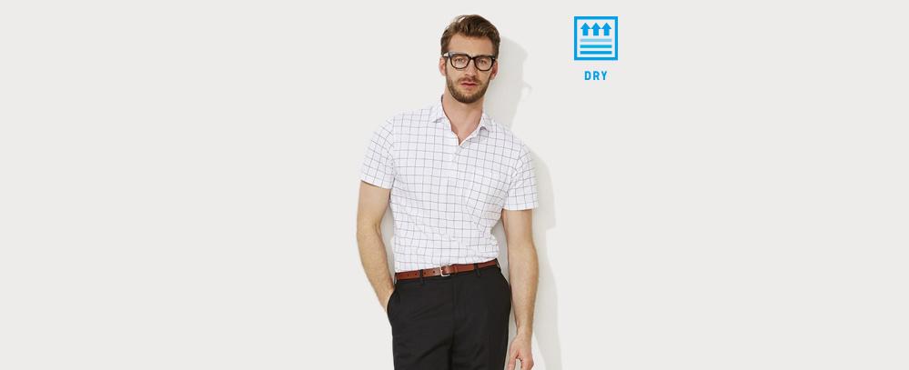 男裝DRY 襯衫領條紋POLO衫 (短袖)半寬角領