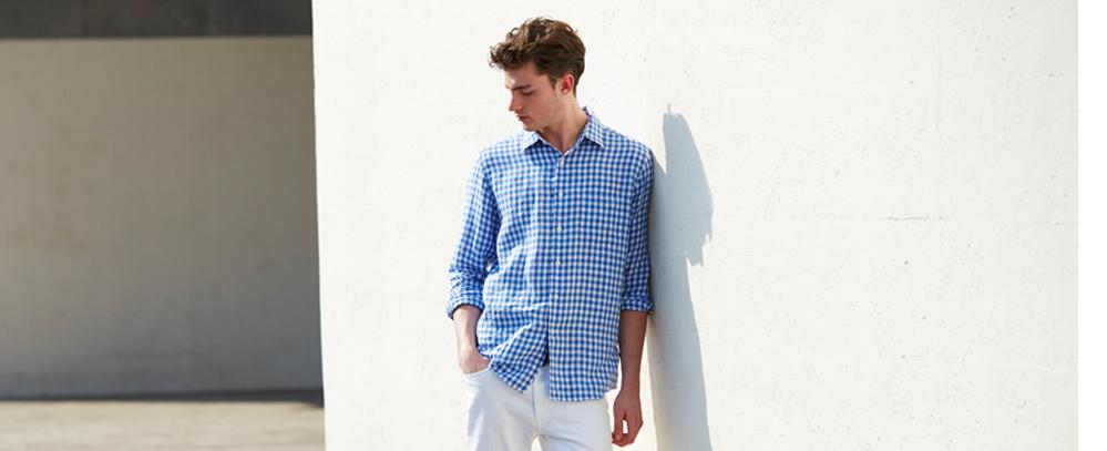 男裝 特級亞麻格紋襯衫(長袖)