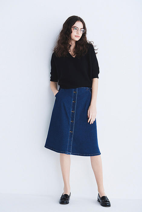 DENIM FRONT BUTTON SKIRT