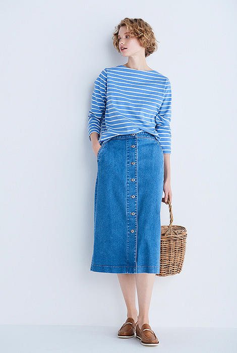 DENIM FRONT BUTTON MIDI SKIRT