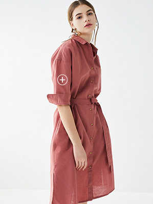 80c97793356e LINEN BLEND 3 4 SLEEVED SHIRT DRESS