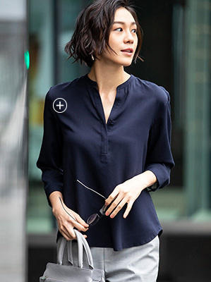 e88709aede7003 RAYON STAND COLLAR 3 4 SLEEVED BLOUSE
