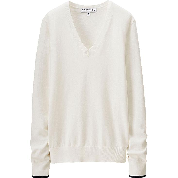 WOMEN Ines Cotton Cashmere V Neck Sweater