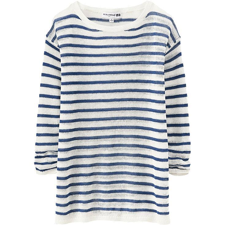 WOMEN Ines Linen Striped Boat Neck Sweater