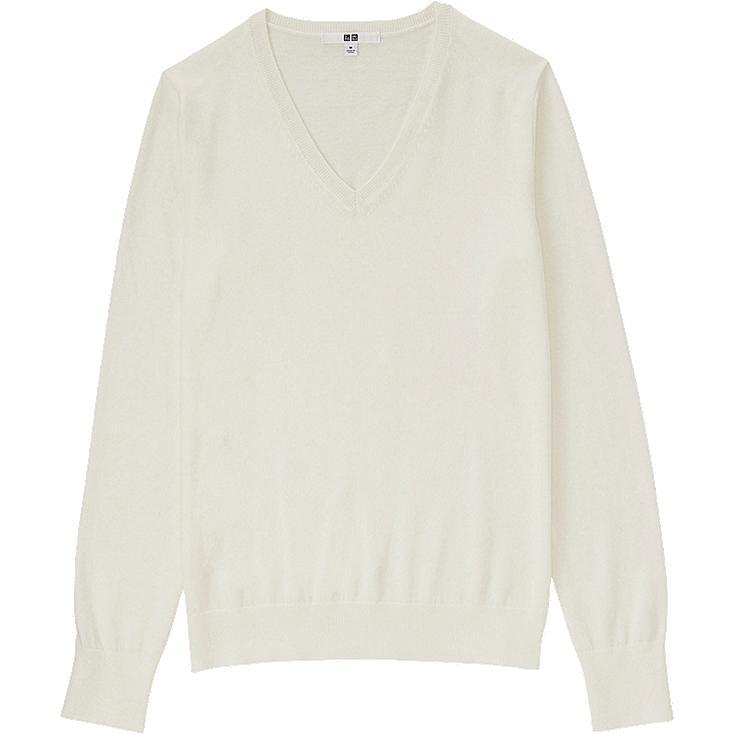 WOMEN Cotton Cashmere V Neck Sweater
