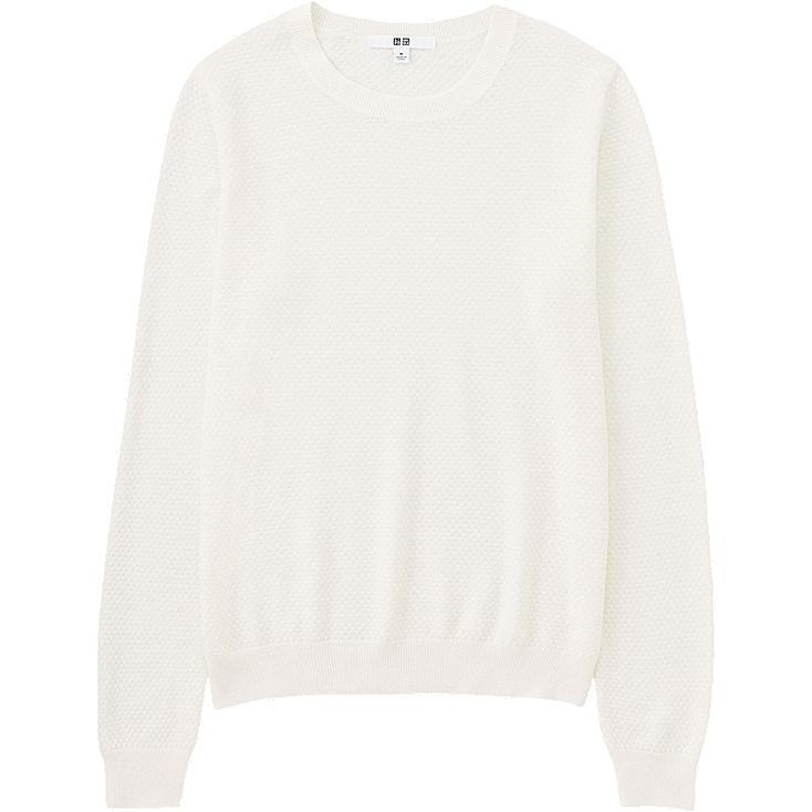 WOMEN Cotton Cashmere Lacy Crew Neck Sweater