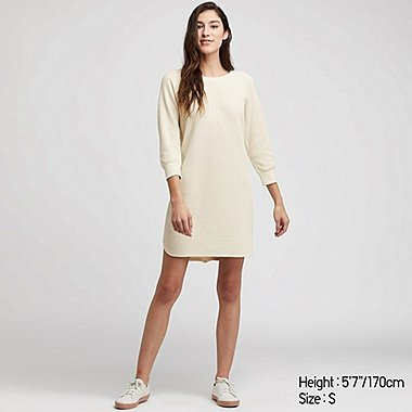 WOMEN WAFFLE KNIT CREW NECK LONG SLEEVED MINI DRESS