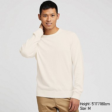PULL EN COTON SUPIMA COL ROND MANCHES LONGUES HOMME