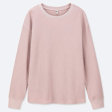WOMEN WAFFLE KNIT CREW NECK LONG SLEEVE T-SHIRT