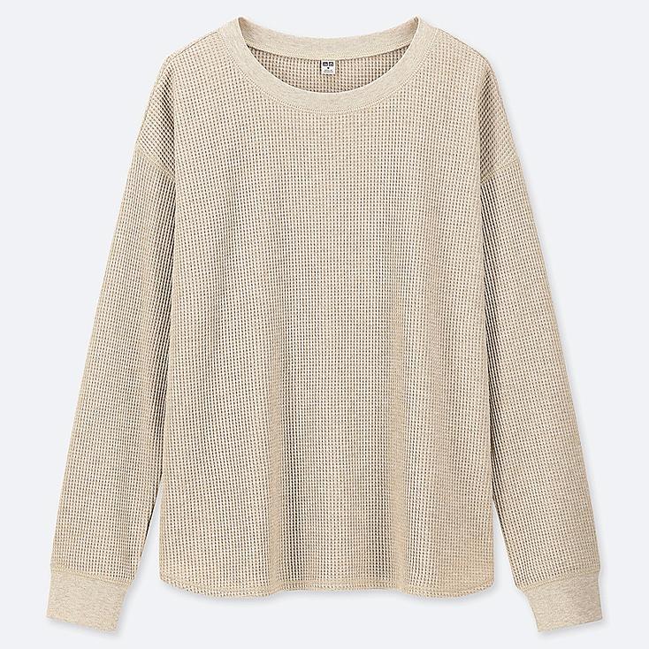 Manches Longues T Col Rond Gaufrée Maille Uniqlo Femme Shirt A1rqg1UX 6ed4e8f2a2d