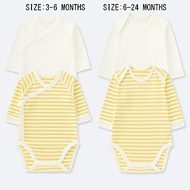 BABIES NEWBORN CREW NECK LONG SLEEVE BODYSUIT (PACK OF 2)