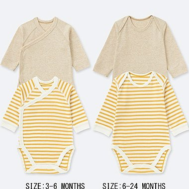 BABIES NEWBORN CREW NECK LONG SLEEVE BODYSUIT (2 PACK)