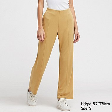 WOMEN PONTE KNIT HIGH WAISTED STRAIGHT LEG TROUSERS