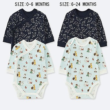 BABIES NEWBORN MOOMIN LONG SLEEVED BODYSUIT (TWO PACK)