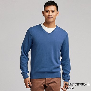 MEN SUPIMA COTTON V NECK JUMPER