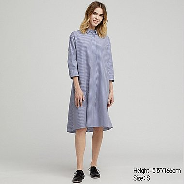 WOMEN EXTRA FINE COTTON A-LINE STRIPED 3/4 SLEEVED DRESS