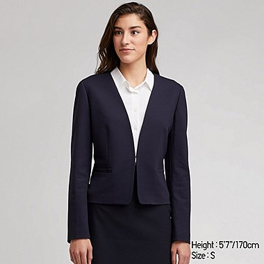 WOMEN PONTE KNIT COLLARLESS OPEN BLAZER JACKET
