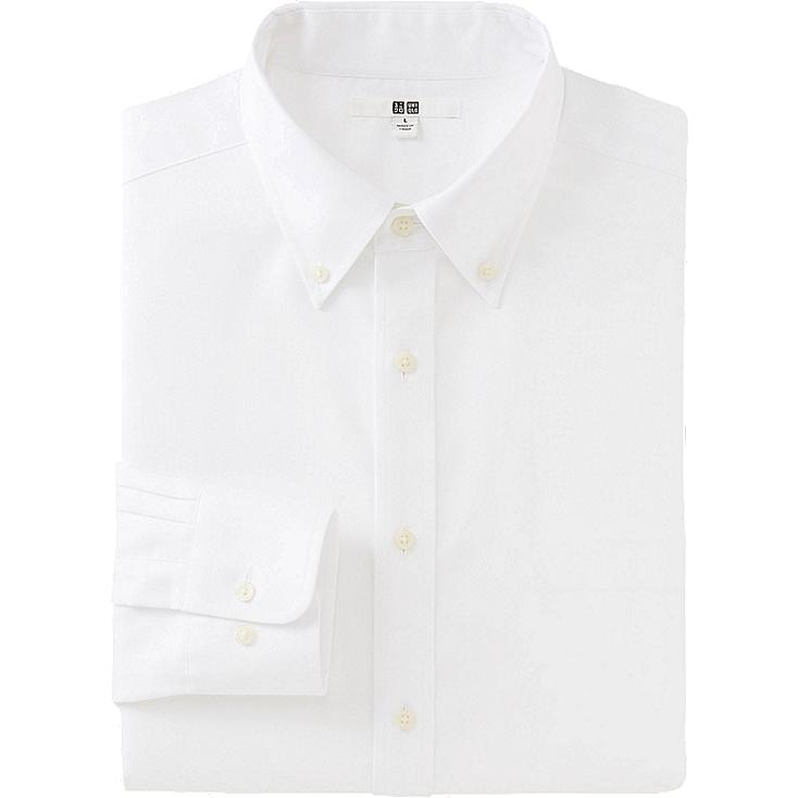 MEN EASY CARE OXFORD LONG SLEEVE SHIRT, WHITE, large