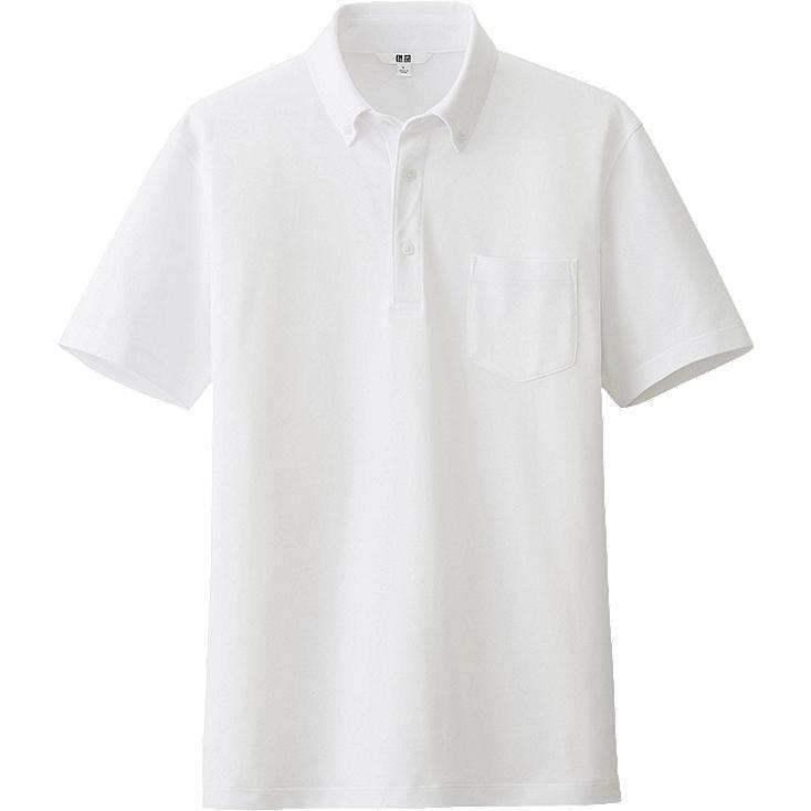 MEN DRY SHIRT COLLAR POLO SHIRT (BUTTON-DOWN), WHITE, large