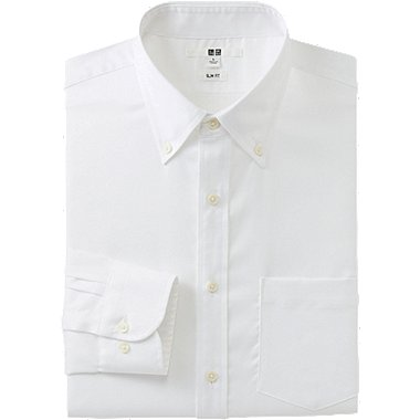 MEN EASY CARE SLIM FIT OXFORD LONG SLEEVE SHIRT, WHITE, medium