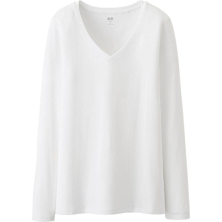 WOMEN Supima Cotton Modal V Neck Long Sleeve T-Shirt