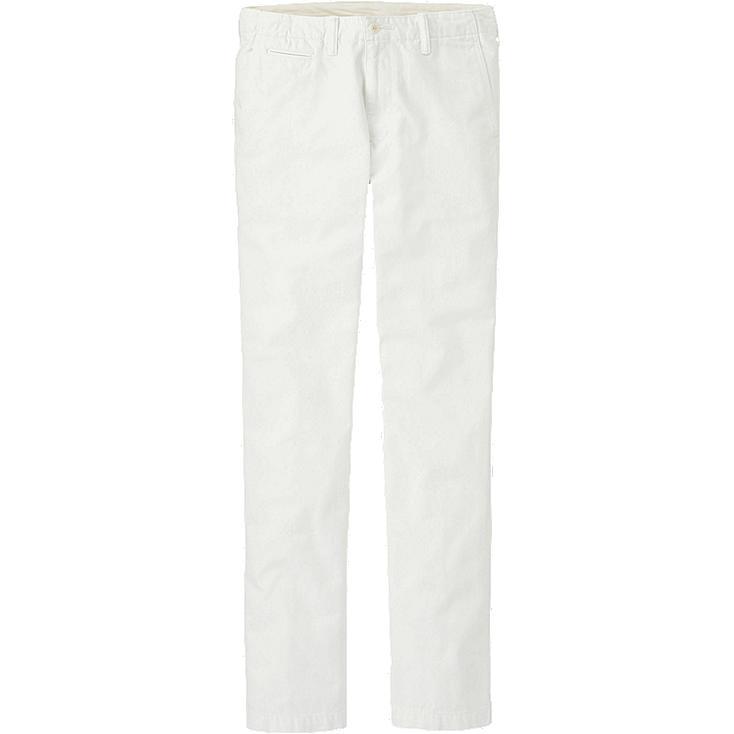 MEN VINTAGE REGULAR FIT CHINO FLAT FRONT PANTS, WHITE, large