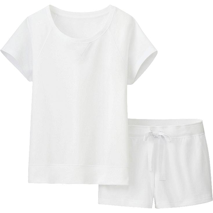 WOMEN SWEAT LOUNGE SET (SHORT SLEEVE), WHITE, large