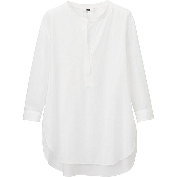 WOMEN RAYON 3/4 SLEEVE BLOUSE, WHITE, large