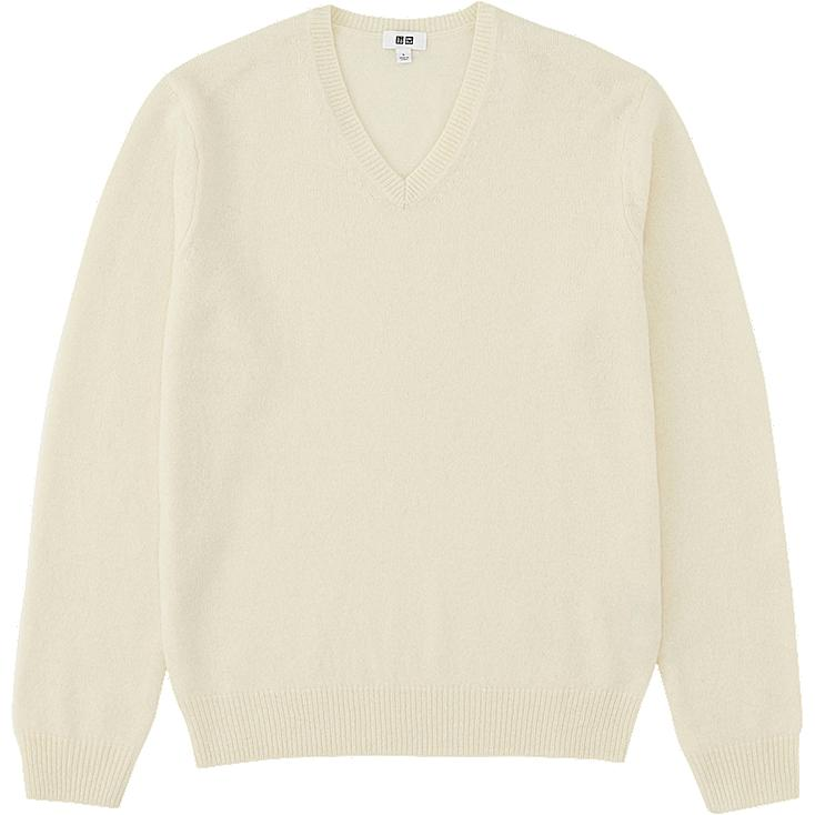 V neck sweater, WHITE, large