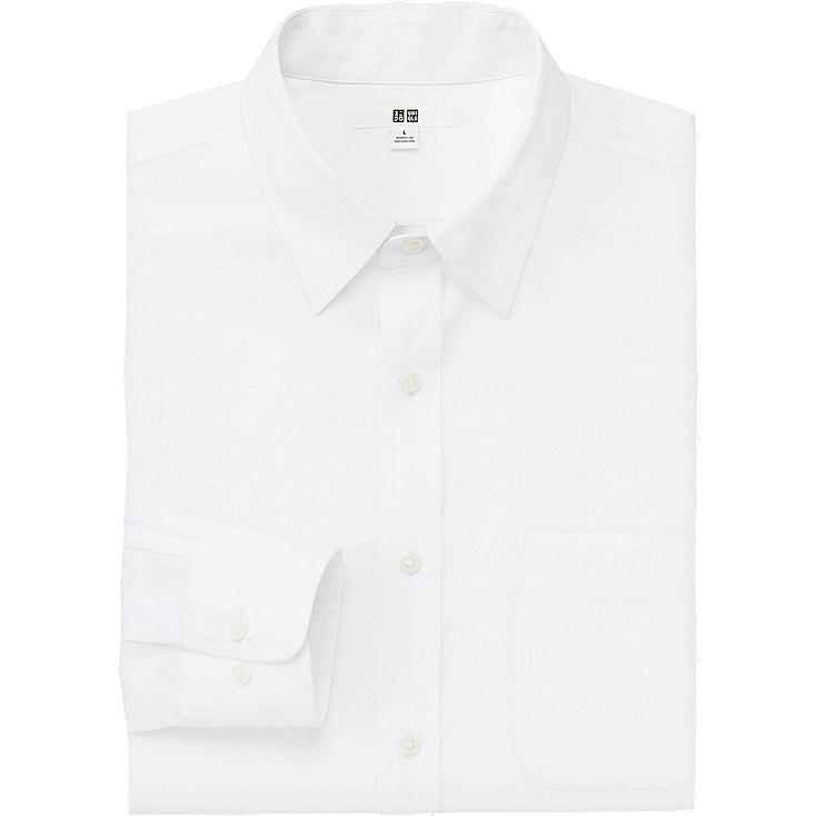 MEN EASY CARE BROADCLOTH LONG SLEEVE SHIRT, WHITE, large